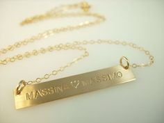 Silver Bar Necklace Gold or Silver Bar by jamesmichellejewelry Hand Stamped Necklace, Engraved Necklace, Personalized Necklace, Dog Tag Necklace, Silver Bar Necklace, Silver Bars, Jewelry Collection, Bling, Push Presents