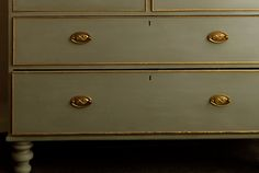 Furniture Painting Annie Sloan Chalk Paint in Paris grey, with clear wax and a little dark wax in corners and around the hardware. Trims painted with Roberson & Co gold paint