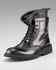 Prada Black Wingtip Boot