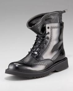 Prada Black Wingtip Boot