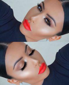 Bright orange red lips Kdrama, Lip Makeup, Makeup Lips, Korean Dramas