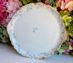 Beautiful Antique Limoges Porcelain Tray ~ Blue Flowers ~ Gold Gilt #Limoges
