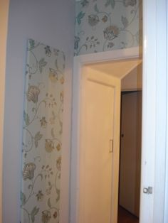 After: The panel covered in Wallpaper. The Wallpaper is very 'busy', instead of wallpapering all in a very small area, the panel breaks it up, and make the space appear larger. Very Busy, Armoire, Larger, Space, Wallpaper, Cover, Furniture, Home Decor, Clothes Stand