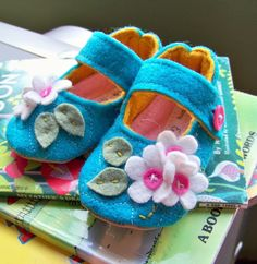 blue baby girl shoes flower baby booties pink baby by ivoryandmoss