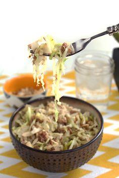 Spiralized Cabbage with Tuna & Almonds       (if using Napa don't add broth and maybe drain tuna-SH)