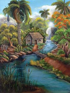 """Painting created in 2007. """"Cuban Landscape"""" is inspired by the natural beauty of the fields of Cuba, ineffable memory of my childhood when visiting the """" Hanabanilla Waterfall"""""""