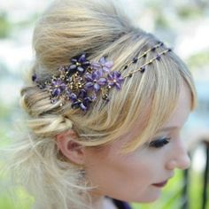 Hellebore Headdress. Delicate purple floral headdress with varying shades of Amethyst and Swarovski. Hermione Harbutt.