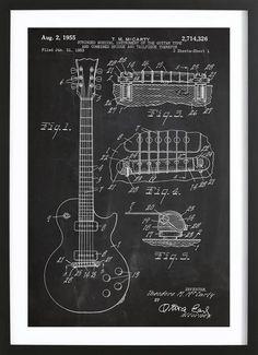 Gitarre-Patent Poster   JUNIQE Guitar Posters, Blueprint Art, Les Paul Guitars, Patent Drawing, Guitar Art, Guitar Shop, Guitar Chords, Acoustic Guitar, Guitar Design