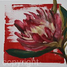 by Nicola Firth Oil ~ 40 x 40 Protea Art, Protea Flower, Diy Canvas Art, Crafts To Make And Sell, Flower Art, Art Flowers, Silk Painting, Illustration Art, Flower Illustrations