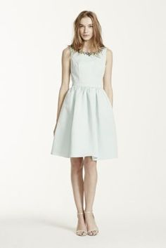 """This unique and stylish bridesmaid dress is the epitome of modern chic!  2"""" extra length sleeveless faille dress with beads.  Sleeveless faille dress with boatneck and beaded detals.  Cut out back detail.  Pockets add convenience.  Fully lined. Back zip. Imported polyester. Dry clean.  Also available in standard length as Style F15703.  Sizes and colors are available in limited stores and with limited availability."""