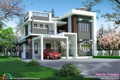 2896 sq-ft 4 bedroom contemporary flat roof home (Kerala home design) Flat Roof House, House With Porch, Facade House, Contemporary Style Homes, Contemporary Bedroom, House Front Design, Modern House Design, House Layout Plans, House Plans