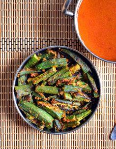 Crispy okra fry recipe  Okra fry with gram flour recipe   Besanwali bhindi recipe - Cook click n devour!!!