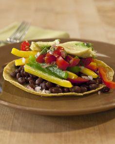 Vegetarian Tortilla Dinner *Black beans *Cooked veggies (bell peppers, onion) *Tortilla *Salsa *Avocado