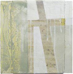"Ian MacLeod 'Composition #355' ::  - 10""x10"" -  Acrylic, latex, glue, raw canvas, deck stain, varathane and polymer emulsion on canvas."