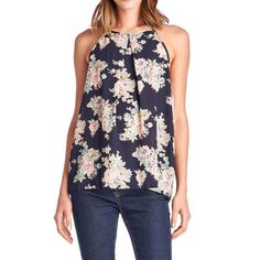 Floral Chiffon Halter Top Pretty lightweight halter, regular fit with one button closure. April Spirit Tops Tank Tops