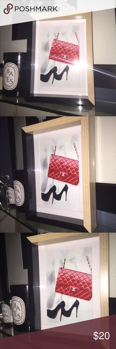 Christian louboutin x Chanel art print with  frame Christian Louboutin x Chanel high gloss art Print with deep box picture frame. Print measures 4x6 & comes with the picture frame, frame can stand alone , art easel lean or hang on wall. Great on a desk , in a closet , on a nightstand. Even in the bathroom . Show your sense of fashion & style beyond your wardrobe !!! CHANEL Other