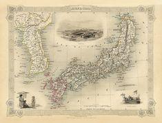 Map of Japan and Korea in 1851 https://www.etsy.com/listing/172867907/vintage-map-japan-and-korea-1851?ref=shop_home_active #Japan #Korea #vintagemap