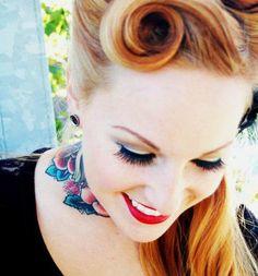 Retro tattoed girl smiling