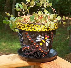 Mosaic Flower Pot  Bumble Bee Flower Pot by BeadedGlass on Etsy, $128.00