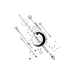 Give a try with Pisces. #geometric #pisces #scorpio #arrow #circle #sign #minimalistic #dot #morse #code #minimalist #moon #symbol #circle #black #white #star #sun #constellation #tattoo #line #fish