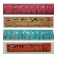Prominently display your childs art in a fun eye catching way. Each one is made to order just for you and takes approximately 5-10 days for production time. Comes ready to hang. Made with solid wood and child safe stain. Chose from many stain colors, lettering colors and fonts. *Chose large clips or mini clips. Unfinished or Mixed color. Can say anything you like. 3 sizes available in drop down menu. If you need something larger, send me a message. Please include in your order: 1. Stai...