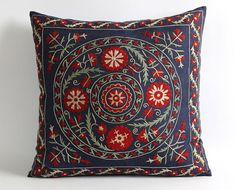 floral embroidery suzani pillow throw pillows decorative pillows embroidered pillow cover gifts for mom gifts for her throw pillow