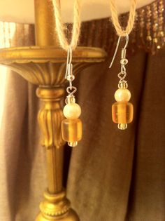 Sterling Silver Dangle Earrings with Amber and Pearlescent Glass Beads!