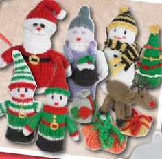 Knitted Mini Christmas Figures Patterns. Amazing free Australian knitting patterns for Christmas from SPotlight. Featuring knitting patterns for Santa and Mrs. Claus, Snowman, Elves, Christmas Tree, Reindeer Rudolph, Christmas decorations, presents and Santa sack! Free Pattern