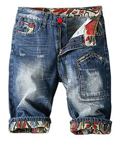 Myncoo Men's Distressed Twill Denim Shorts