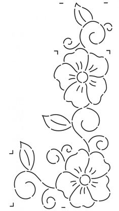 Quilt Stencil Flowers & Swirls Border - New Site Hand Embroidery Patterns Free, Border Embroidery, Embroidery Flowers Pattern, Simple Embroidery, Vintage Embroidery, Embroidery Sampler, Quilting Stencils, Quilting Designs, Drawing Stencils