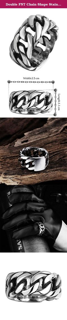 Double FNT Chain Shape Stainless Steel Men's High Polish Punk Style Retro Fashion Ring. Company main products: 925 Sterling silver, titanium steel jewelry. Include stud, korean earrings, bracelets, necklace, pendant, dangle, rings. Leisure wild,durable new bright. This will be the best present for grace lady like you or for your beloved girl if you are a gentleman. Please trust your good taste and make your choice. Jewelry Maintenance: (1) To prevent corrosion, Please avoid direct contact...