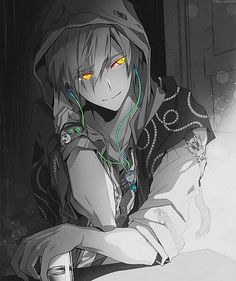 Anime Guy with headphones Black and white