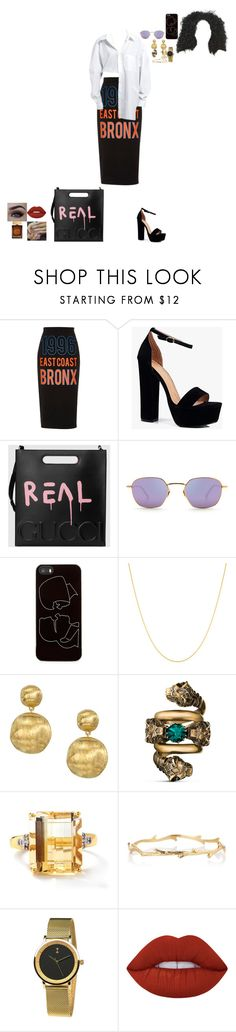 """""""woah"""" by cosuigwe ❤ liked on Polyvore featuring River Island, Boohoo, Gucci, Zero Gravity, Fremada, Marco Bicego, Lime Crime and Dolce&Gabbana"""