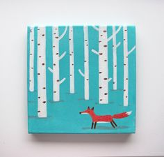 "Original Acrylic Painting ""Fox in a forest"", on turquoise blue background, nursery art, wall decor, nursery painting, canvas art by Innaruda on Etsy https://www.etsy.com/listing/225183490/original-acrylic-painting-fox-in-a"