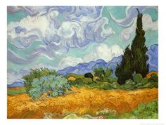 Wheatfield with Cypresses, c.1889 by Vincent van Gogh. Art print from Art.com.