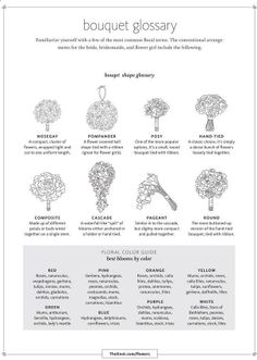 Before you call the florist, figure out what flowers and bouquets you want: | These Diagrams Are Everything You Need To Plan Your Wedding