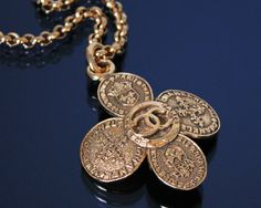 Vintage CHANEL Gold Cross Necklace 1980s by fashionsquid