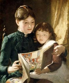 Knowledge Is Power, Seymour Joseph Guy (1824 - 1910, English-born American), I AM A CHILD-children in art history-blog