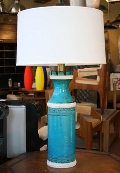Turquoise Bitossi Lamp | From a unique collection of antique and modern table lamps at http://www.1stdibs.com/furniture/lighting/table-lamps/