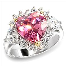 3.1ct cz Pink Heart cut Ring Platinum and Gold Plated Cubic Zirconia