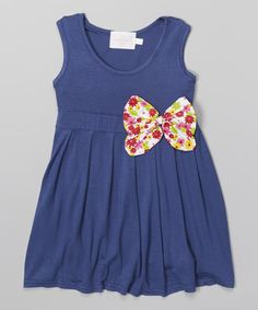 Look what I found on #zulily! Blue Bow Babydoll Dress - Toddler & Girls #zulilyfinds