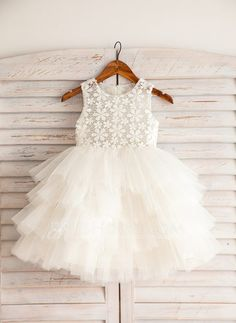 [US$ 54.19] Empire Knee-length Flower Girl Dress - Satin/Lace/Cotton Sleeveless Scoop Neck (010092642)