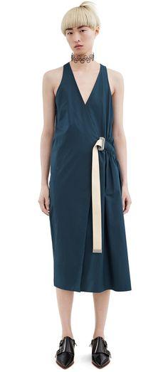 Acne Studios Chen Pop Dark Petrol Poplin wrap dress