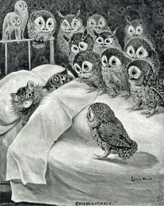 """Cats in Art and Illustration: Louis Wain, """"Cats Nightmare."""" Katzen in Kunst und Illustration: Louis Wain, """"Cats Nightmare. Art And Illustration, Art Illustrations, Louis Wain Cats, Owl Art, Crazy Cats, Crazy Bird, Cats And Kittens, Illustrators, Cute Animals"""