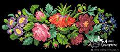 """Купить или заказать Схема вышивки """"Виньетка с рябчиком"""" в интернет магазине на Ярмарке Мастеров. С доставкой по России и СНГ. Материалы: схема вышивки. Размер: 187 х 74 крестика, 39 цветов Needlepoint, Cross Stitch Patterns, Folk, Projects To Try, Floral Wreath, Arts And Crafts, Baby Shower, Embroidery, Punto Croce"""