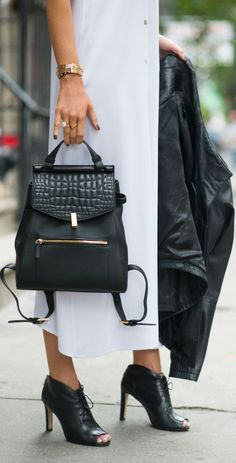 Black Gold Accent Contrast Croc Flap Backpack by The Classy Cubicle