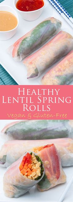 Healthy Red Lentil Spring Rolls Recipe | VeganFamilyRecipes.com | #vegan #vegetarian #cleaneating #glutenfree #appetizer #rice paper