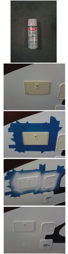 Quick fix to restore those ugly yellow sun faded plastic pieces on your RV!!! Krylon Fusion and some Scotch painters tape. Thanks to quicksilver for the info!!!
