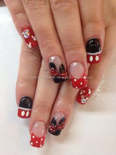 Disney Mickey or Minnie Mouse nail art with bows and Swarovski crystal mickeys Mickey Mouse Nail Art, Mickey Nails, Minnie Mouse Nails, Disney Mickey, Fancy Nails, Love Nails, How To Do Nails, Pretty Nails, My Nails