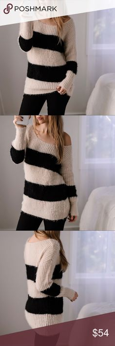 """🆕Sag Harbor Fuzzy Sweater Soft fuzzy sweater - perfect for cozying up this winter! Classic black and creme stripes. Off the shoulder style.   ▫️Material: Nylon & Acrylic ▫️Fit: Casual ▫️Chest across: S 20.5"""", M 21"""" ▫️I am modeling S ▫️Brand new from my boutique  Price is firm, 10% off bundles of 3+  📷Photos are my own 11thstreet Sweaters Crew & Scoop Necks"""